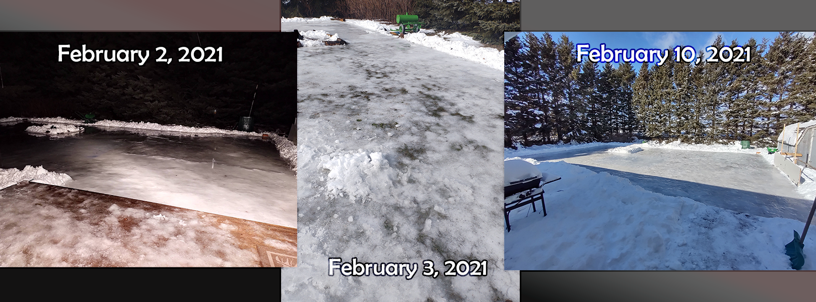 Justin's Outdoor Rink on February 2nd, 3rd and 10th